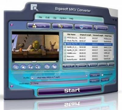 Bigasoft MKV Converter 3.5.19.4356 (2011) Многоязычная версия
