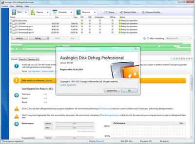 дефрагментация диска Auslogics Disk Defrag Professional 4.0.0.40 + Portable (2012)