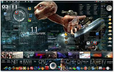 Rainmeter 2.4 build 1623 + Skins (PC/RUS)